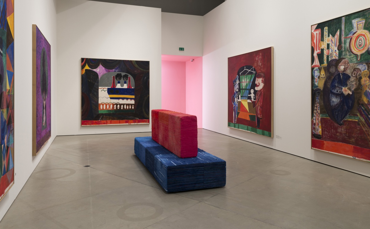 Tal R The Virgin, Aros, Århus, Denmark, The sofas was specially made as part of the exhibition